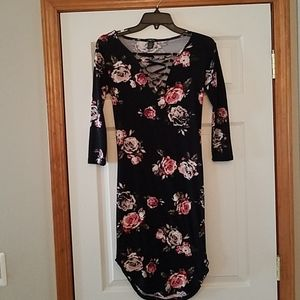 Black with floral design, poly/Spandex dress